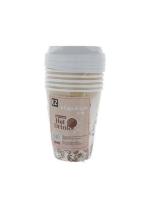 HOT DRINK CUPS 6 COUNT WITH LIDS