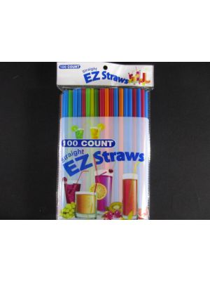 EZ Straight Plastic Straws 100 Count