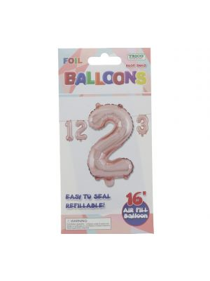 ROSE GOLD #2 FOIL BALLOON 16IN