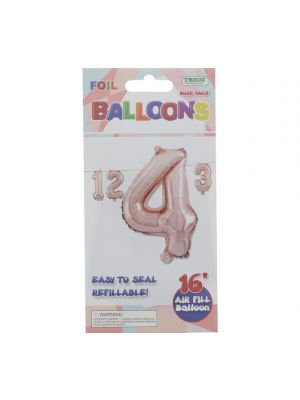 ROSE GOLD #4 FOIL BALLOON 16IN