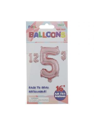 ROSE GOLD #5 FOIL BALLOON 16IN