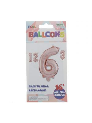 ROSE GOLD #6 FOIL BALLOON 16IN