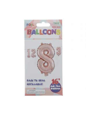 ROSE GOLD #8 FOIL BALLOON 16IN