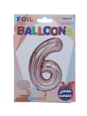 ROSE GOLD  #6 FOIL BALLOON 34 INCH