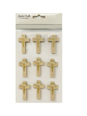 WOODEN CROSS STICKERS LIGHT BROWN 9 COUNT