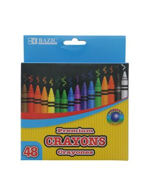 48 Counts Premium Color Crayons, Coloring Set, Assorted Colors, School Art Gift for Kids Teens, 1-Pack