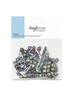 BLACK SQUARE ALPHABET BEADS 120 PC
