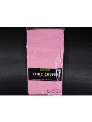 Plastic Table Cover in Light Pink Color, Party Table Cloths Disposable, Rectangle Tablecloth - Size: 56 x 108 Inches