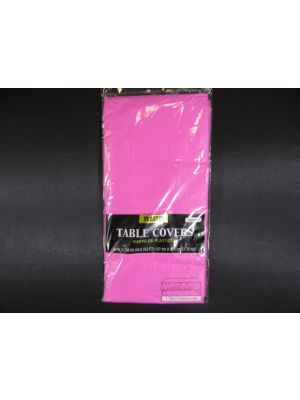 Plastic Table Cover in Hot Pink Color, Party Table Cloths Disposable, Rectangle Tablecloth - Size: 56 x 108 Inches