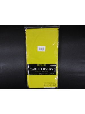 Plastic Table Cover in Yellow Color, Party Table Cloths Disposable, Rectangle Tablecloth - Size: 56 x 108 Inches
