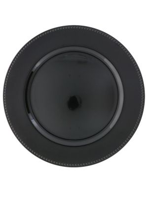 BLACK PLASTIC PLATE CHARGER 13 INCH