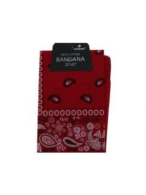 Red Bandana, 100% Cotton Versatile Large Paisley Bandanas in Pack of 1