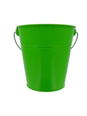 LIME GREEN TIN METAL BUCKET