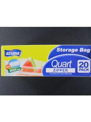 STORAGE BAG QUART ZIPPER 20PK