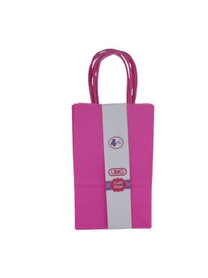 HOT PINK SMALL CRAFT BAG 4 COUNT 13X8X21CM