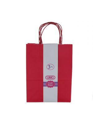 RED MEDIUM CRAFT BAG 3 COUNT 19X10X25CM
