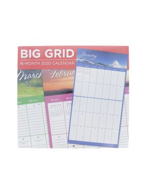 BIG GRID WALL CALENDAR 16 MONTH 2020