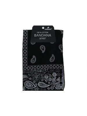 Black Bandana, 100% Cotton Versatile Large Paisley Bandanas in Pack of 1