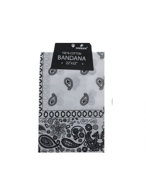 White Bandana, 100% Cotton Versatile Large Paisley Bandanas in Pack of 1
