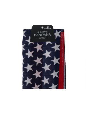 American Flag Bandana, 100% Cotton Versatile Large Paisley Bandanas in Pack of 1