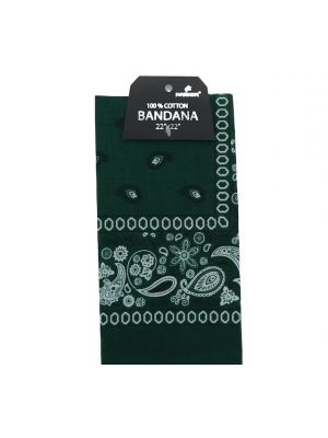 Green Bandana, 100% Cotton Versatile Large Paisley Bandanas in Pack of 1