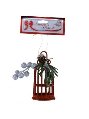 RED GLITTER BIRD CAGE WITH BERRIES 13 CM