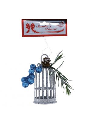 SILVER GLITTER BIRD CAGE WITH BERRIES 13 CM