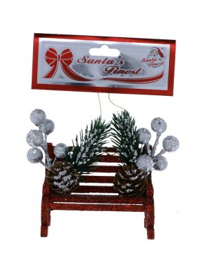 RED GLITTER BENCH WITH BERRIES 9 CM