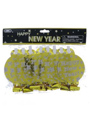 HAPPY NEW YEAR BLOW HORN 8 PC