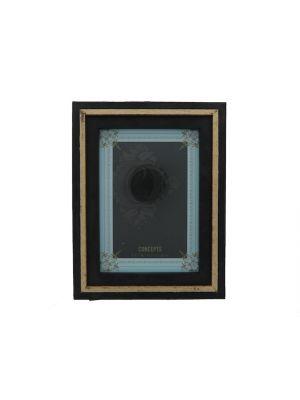 BLACK RAISED GOLD BORDER FRAME 5X7