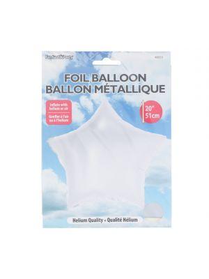 WHITE FOIL STAR BALLOON 20 INCH