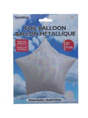 FOIL STAR BALLOON 20 INCH WHITE