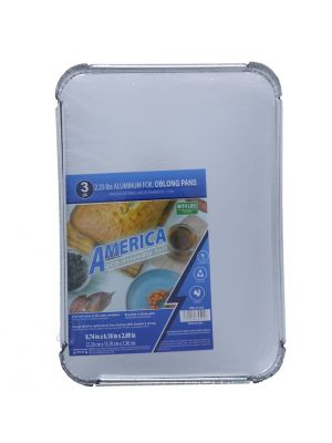 AL FOIL PAN 3 PACK WIT LID 8.74 IN X 6.18 IN