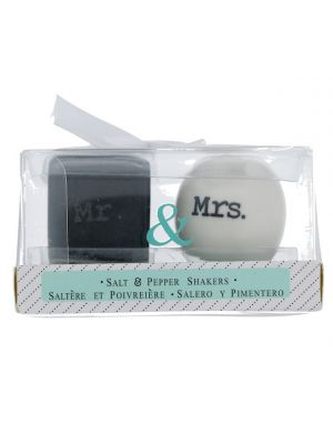 SQUARE AND ROUND MR. AND MRS. SALT AND PEPPER SHAKER SET