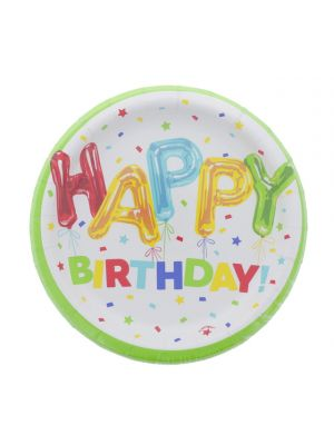 HAPPY BIRTHDAY 9 INCH PLATE 8 COUNT