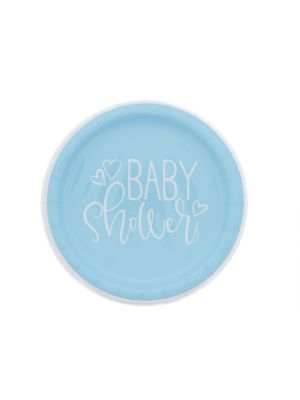 BLUE BABY SHOWER PLATE 7 IN 8 CT