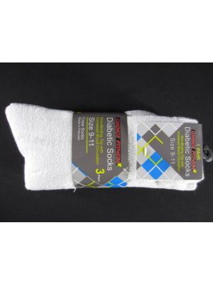 9-11 DIABETIC CREW WHITE SOCKS