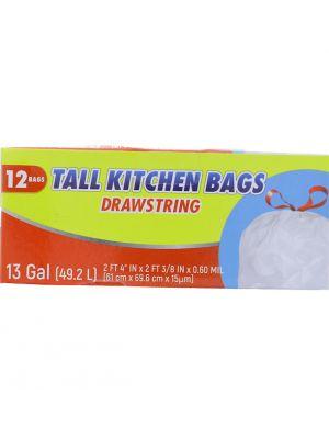 TALL KITCHEN BAGS DRAWSTRING 13 GALLOON 12 BAGS