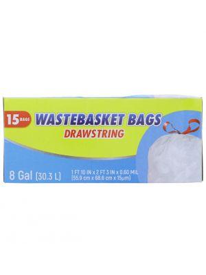 WASTEBASKET BAGS DRAWSTRING 8 GL 15 BAGS