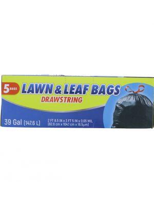 LAWN AND LEAF BAG DRAWSTRING 39 GALLOON 5 BAGS