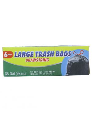 LARGE TRASH BAGS DRAWSTRING 33 GALLOON 6 BAGS
