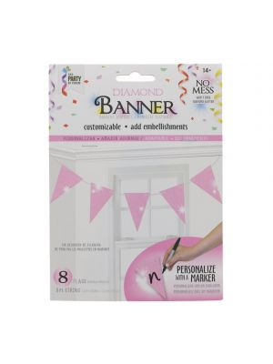 LIGHT PINK DIAMOND TRIANGLE BANNER 8 FLAGS