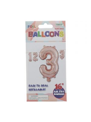 ROSE GOLD #3 FOIL BALLOON 16IN