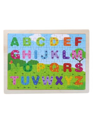 Wooden Alphabet Puzzle Set for Kids, 80 pieces Puzzle For Kids, Learning Toys, Educational Toys - Size: 12 x 9 in
