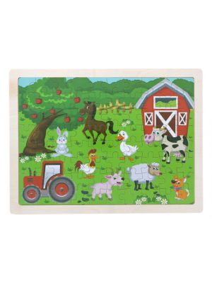 Wooden Farm Animal Puzzle Set for Kids, 80 pieces Puzzle For Kids, Learning Toys, Educational Toys - Size: 12 x 9 in