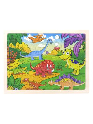 Wooden Dinosaur Puzzle Set for Kids, 80 pieces Puzzle For Kids, Learning Toys, Educational Toys - Size: 12 x 9 in