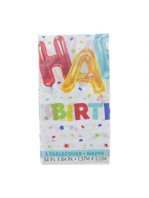 HAPPY BIRTHDAY PLASTIC TABLECOVER