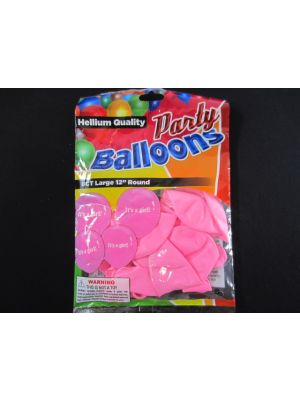 BALLOONS ITS A GIRL 10PK