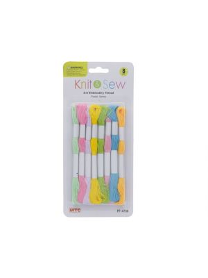 8PC 8M EMBROIDERY THREAD-PASTEL COLORS