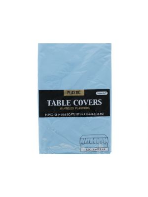 Plastic Table Cover in Light Blue Color, Party Table Cloths Disposable, Rectangle Tablecloth - Size: 56 x 108 Inches